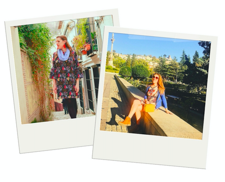 polaroid images of woman in spain