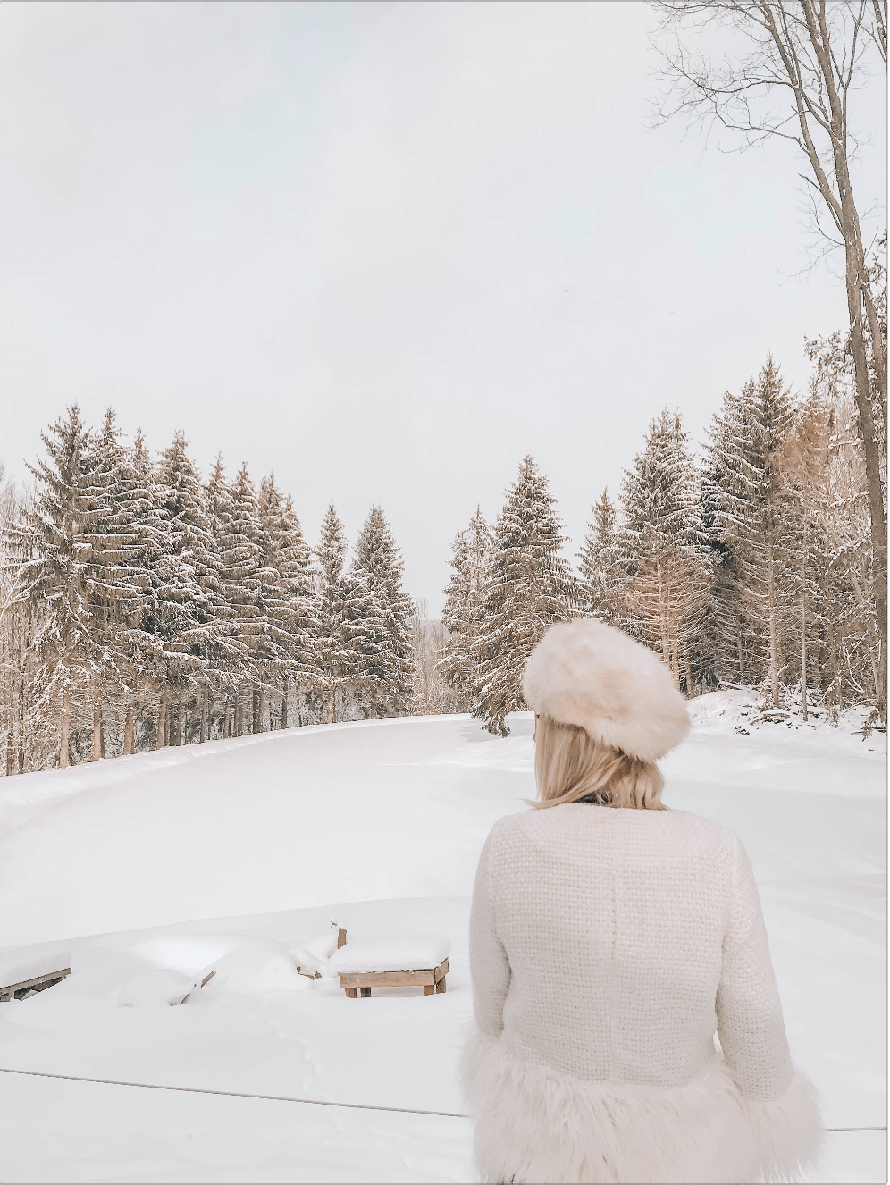 Girl watching snow in forest in Getaway Cabins